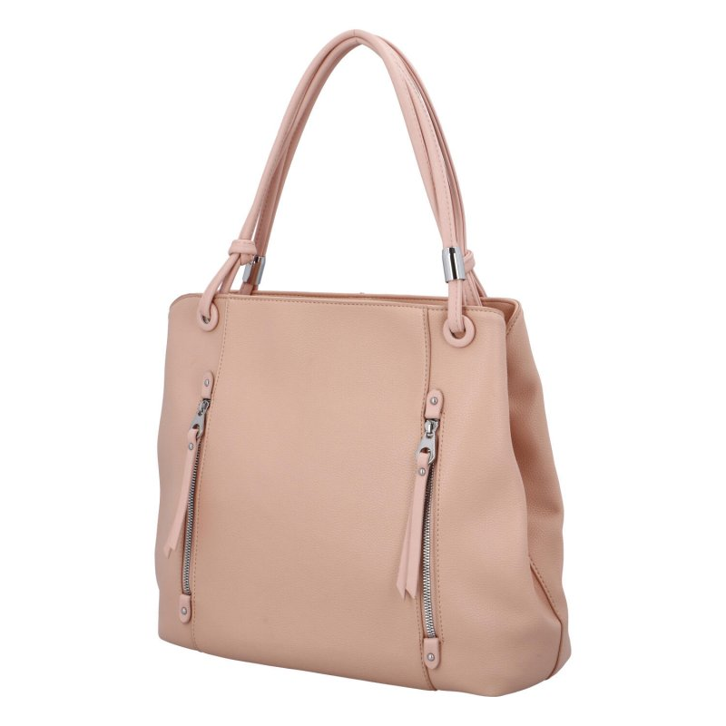 Stylová dámská kabelka se zipy Stefan, růžová