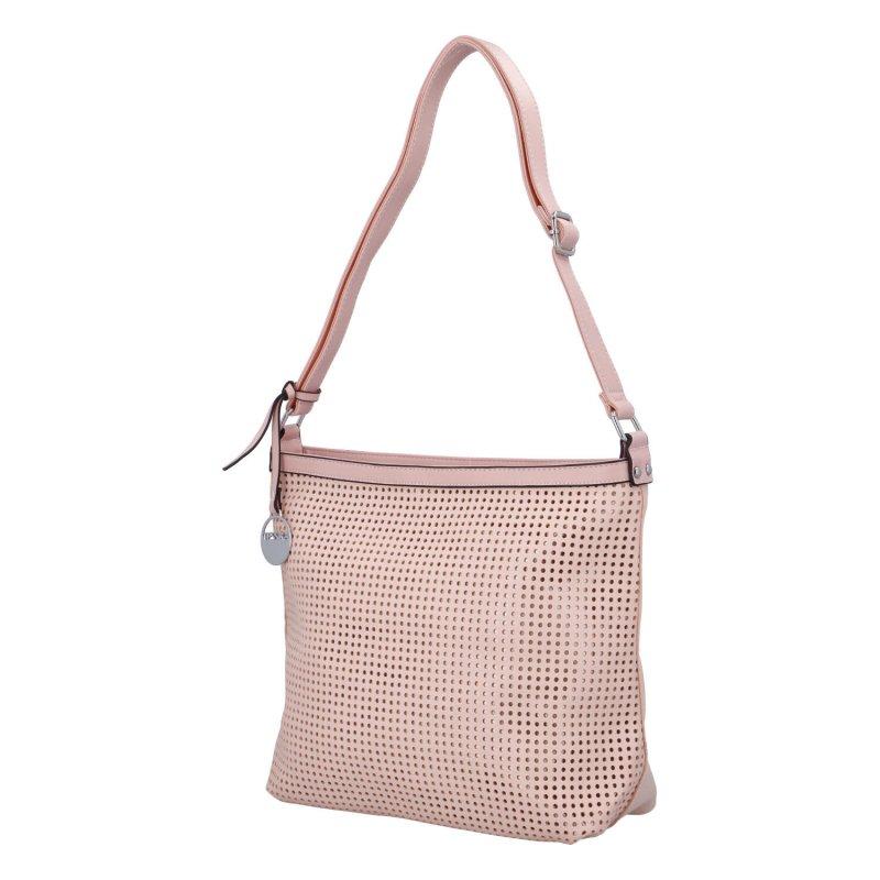 Stylová prostorná dámská kabelka Tony, růžová