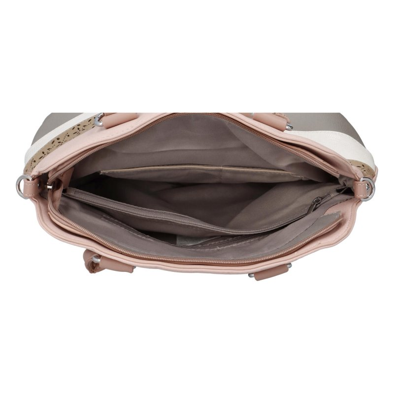 Módní kabelka do ruky s pruhy Camille, růžová