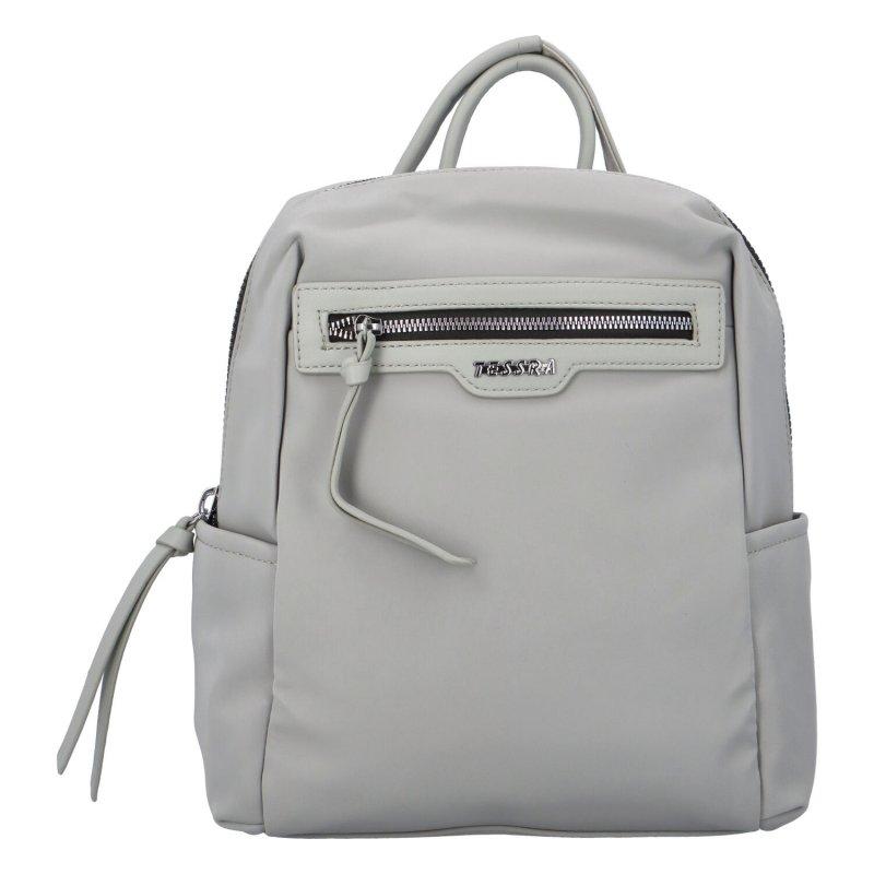 Prostorný koženkový batůžek Elis, šedý