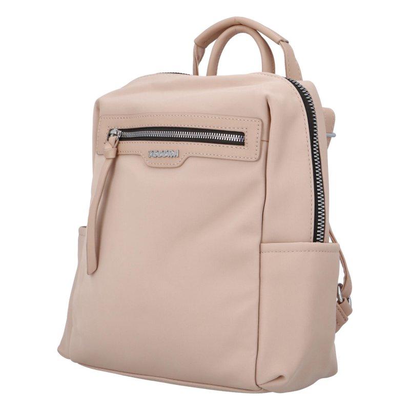 Prostorný koženkový batůžek Elis, růžový