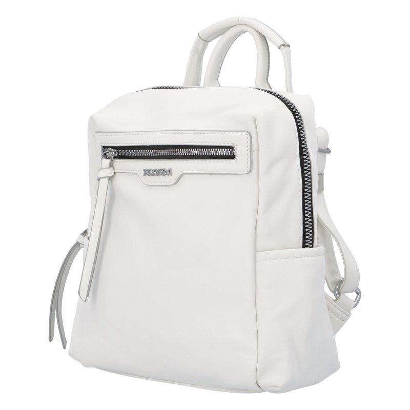 Prostorný koženkový batůžek Elis, bílý