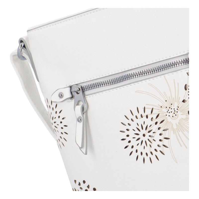 Krásná koženková kabelka s florálním motivem, bílá