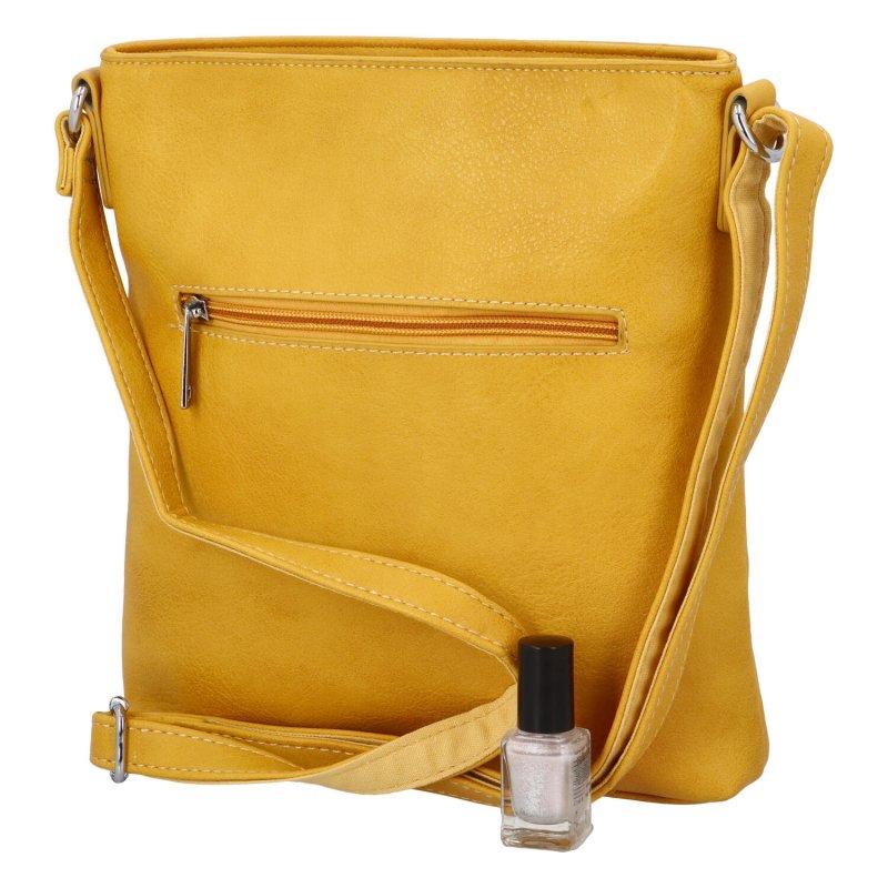 Krásná koženková kabelka s florálním motivem, žlutá