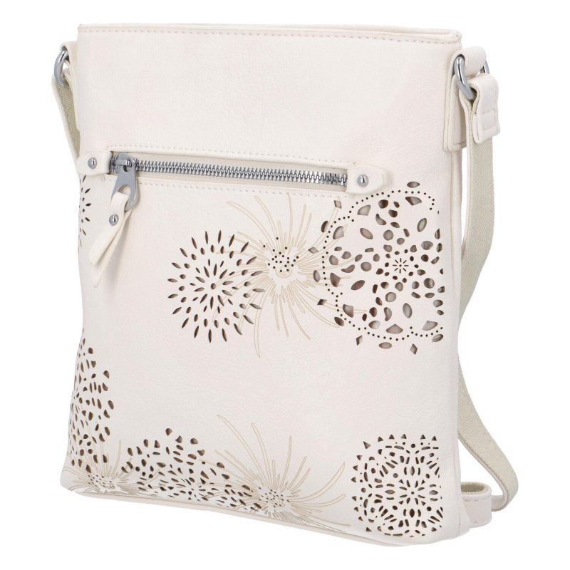 Krásná koženková kabelka s florálním motivem, béžová
