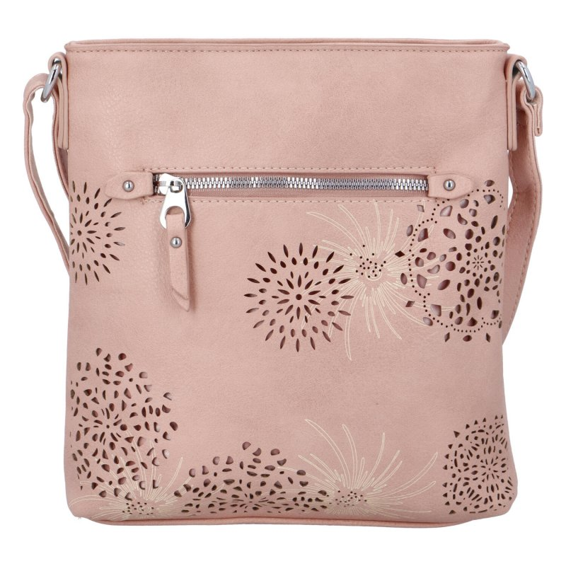 Krásná koženková kabelka s florálním motivem, růžová