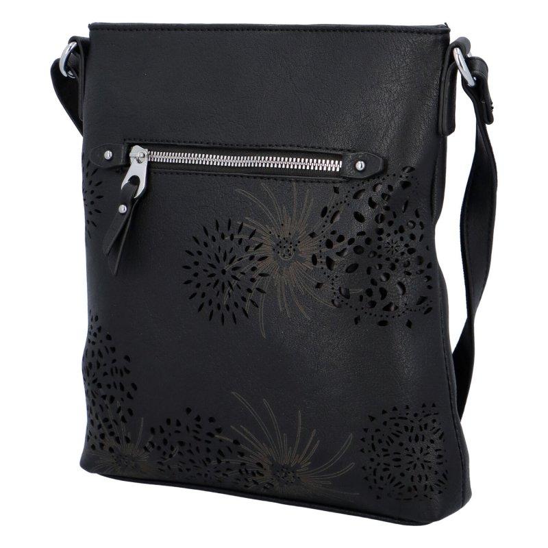 Krásná koženková kabelka s florálním motivem, černá