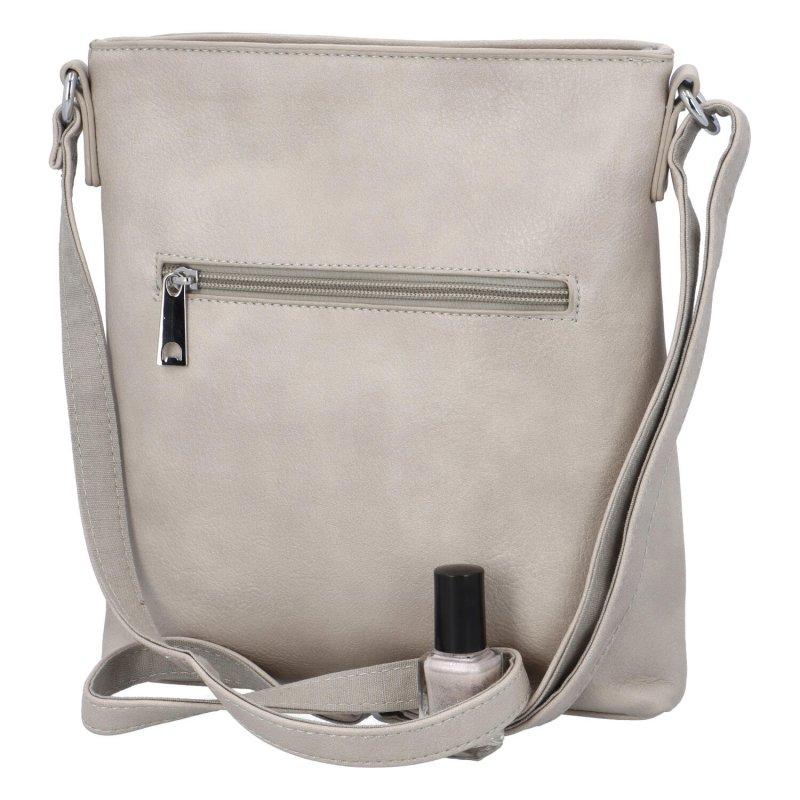 Krásná koženková kabelka s florálním motivem, šedá