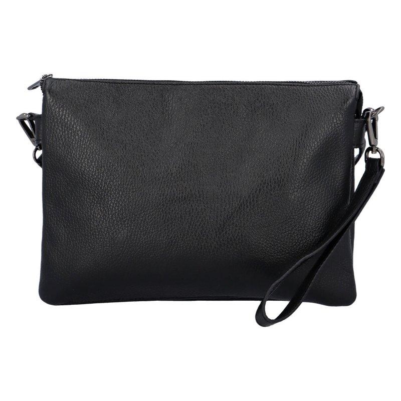 Elegantní kožená crossbody kabelka - psaníčko Lora, černá