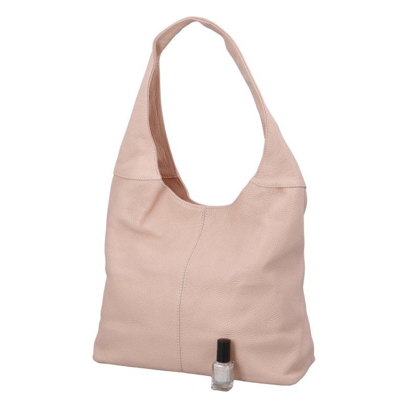Velká dámská kožená kabelka Hayley růžová