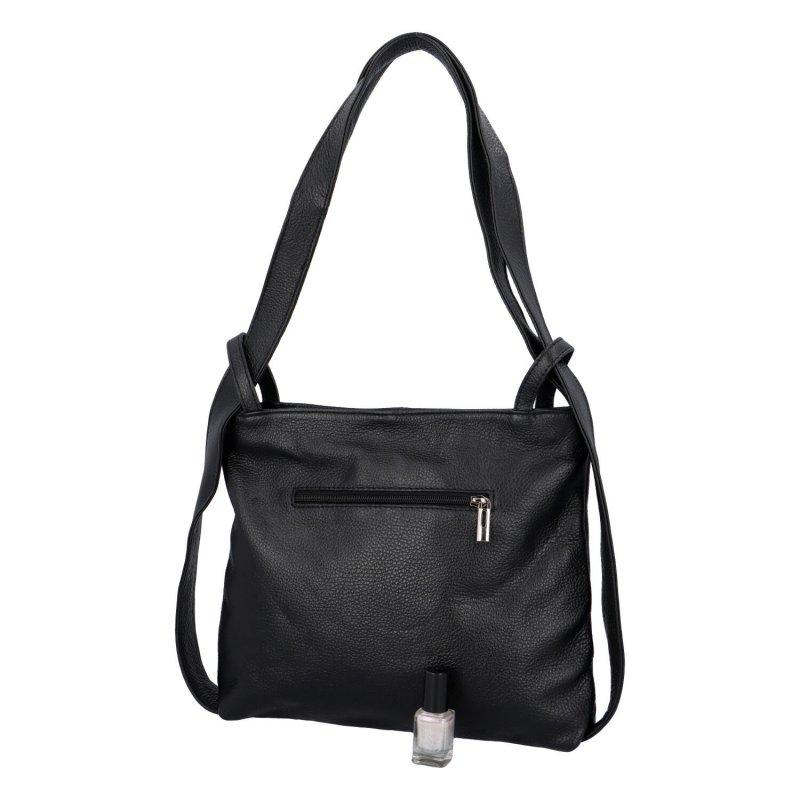 Prostorná dámská kožená kabelka batoh Emily černá