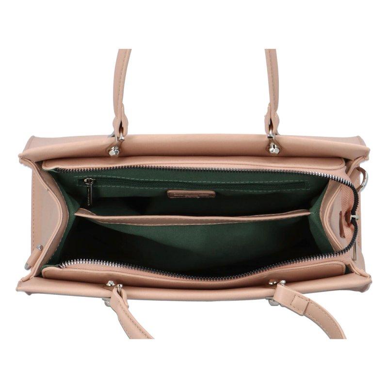 Trendová pevná dámská koženková kabelka Frank, růžová