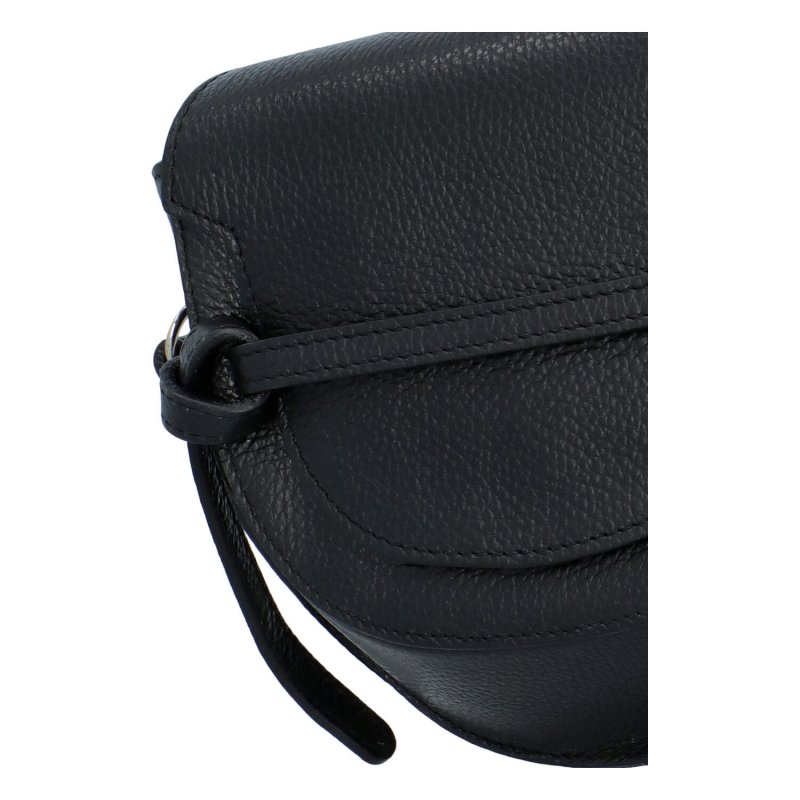 Zajímavá dámská kožená crossbody s klopou Enrique, černá