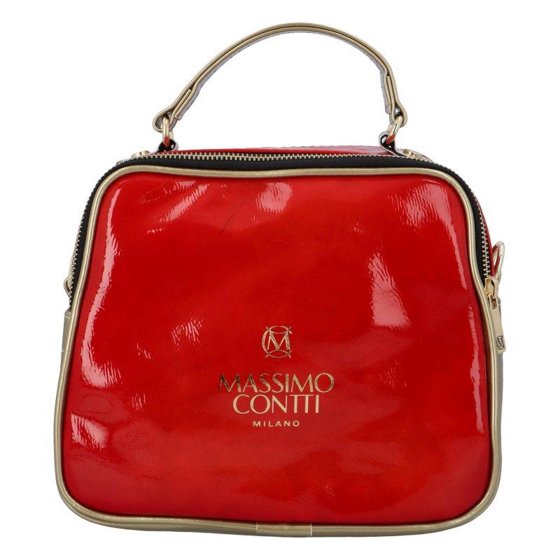 Sportovně elegantní koženková kabelka MCO, červeno-zlatá