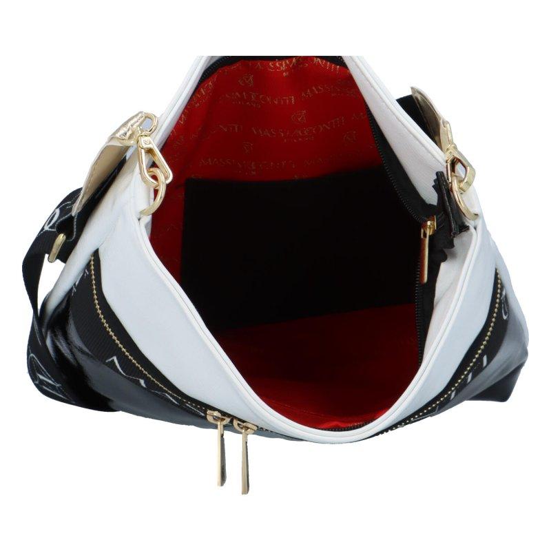 Dámská koženková kabelka MASSIMO Sport Ema, černo-bílá