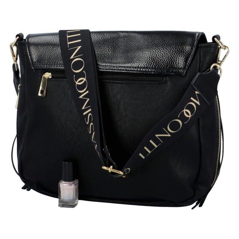 Krásná Country style crossbody kabelka Massimo, černá