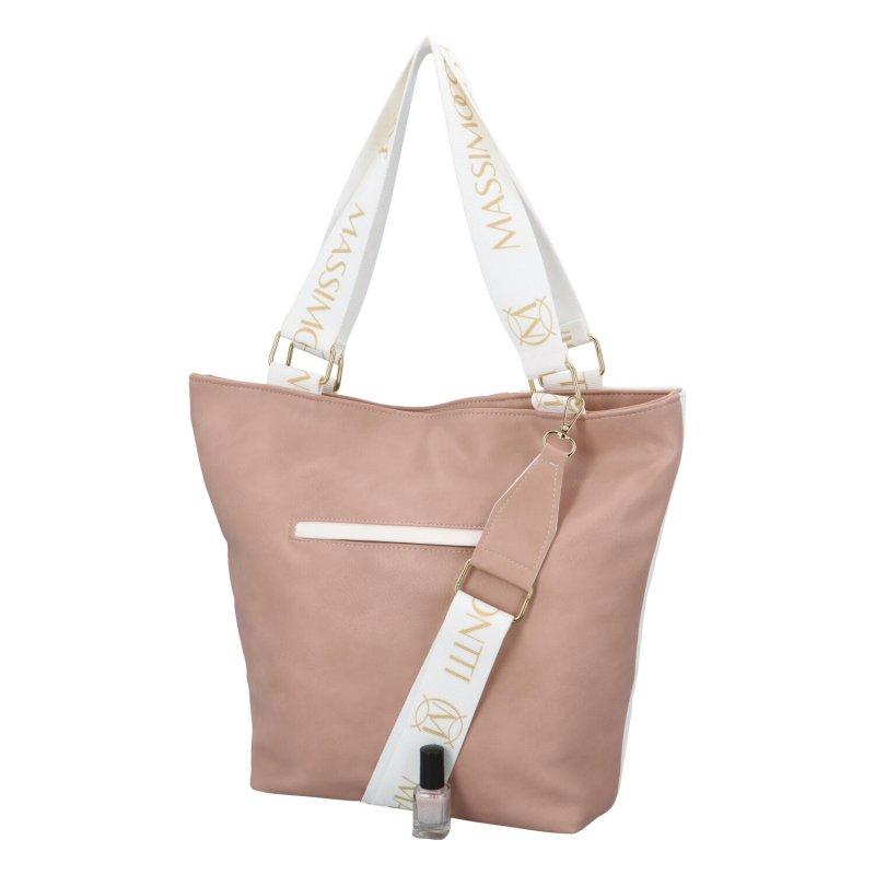 Stylová dámská kabelka Mary, růžovo-bílá
