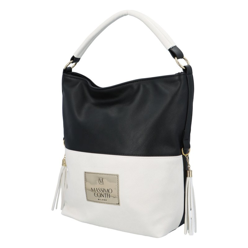 Pohodlná koženková kabelka Massimo Lenny, černá-bílá