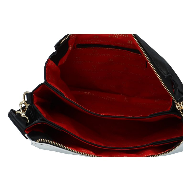 Trendy dámská koženková crossbody kabelka Drake, bílá-černá