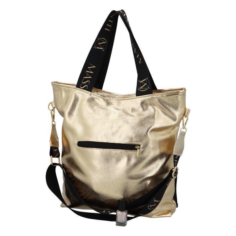 Stylová koženková kabelka Lea, zlatá-černá
