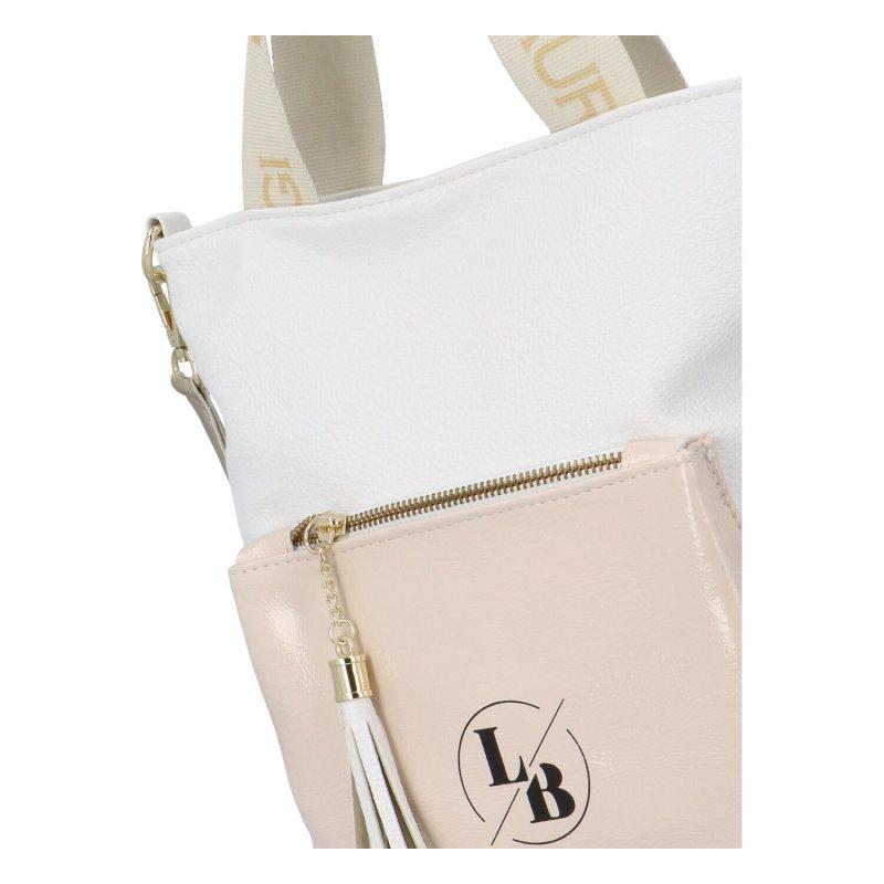 Luxusní dámská taška Laura Biaggi Sue, bílo-béžová