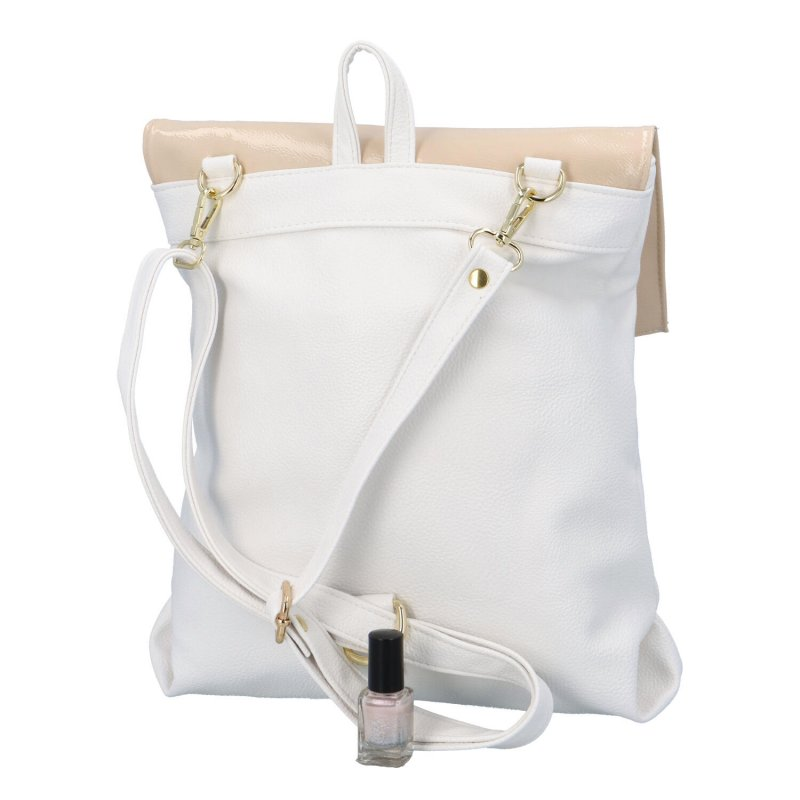 Moderní batůžek s klopou Laura Biaggi Giar, béžový-bílý