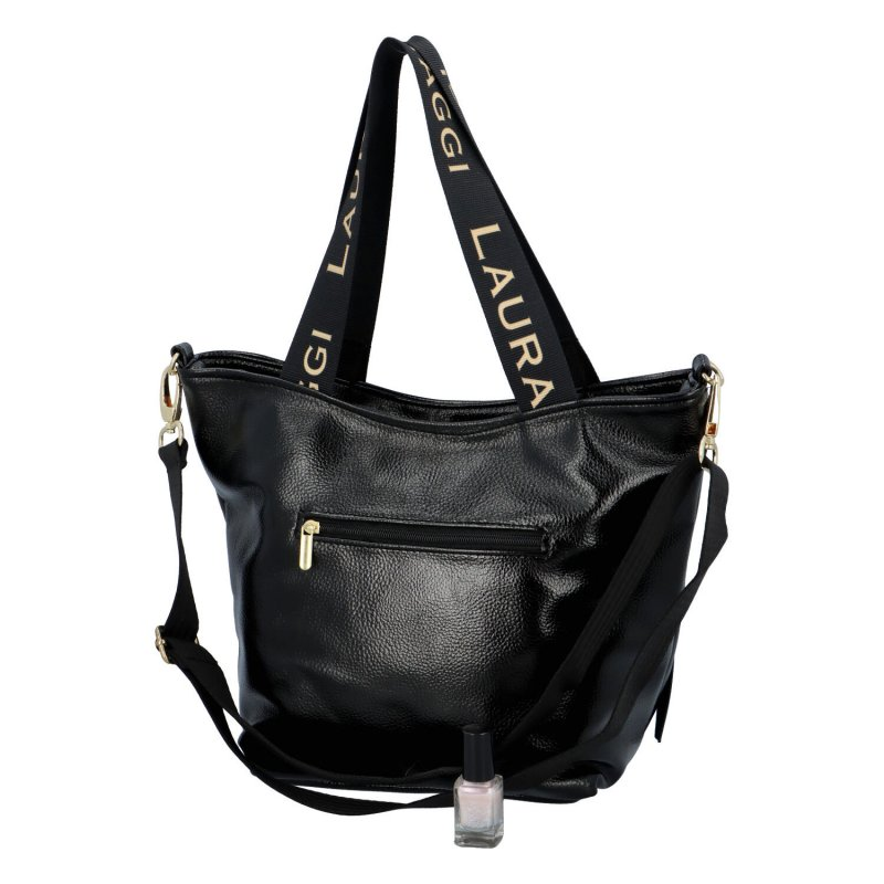 Příjemná dámská koženková taška Miss Laura Biaggi, černá lesklá