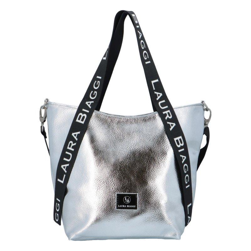 Zajímavá a módní dámská koženková kabelka Martina Laura Biaggi, stříbrná