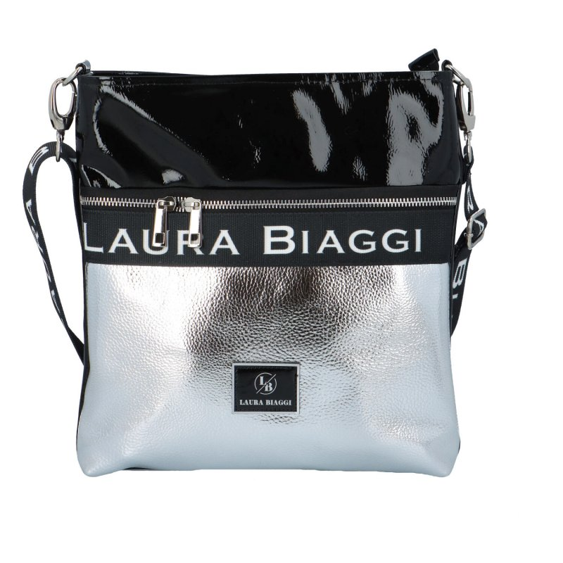 Luxusní dámská crossbody Ellen Laura, černá-stříbrná