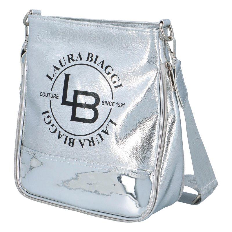 Výrazná lesklá dámská crossbody Lucy Laura Biaggi, stříbrná