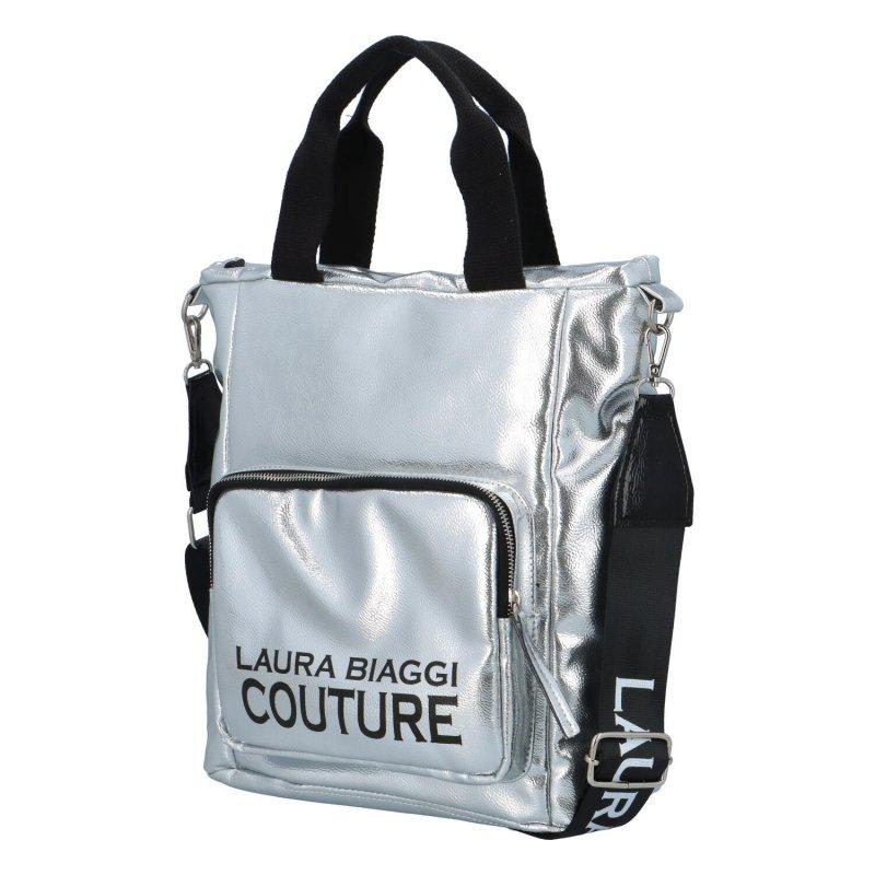 Módní koženková kabelka Laura Vilma, stříbrná