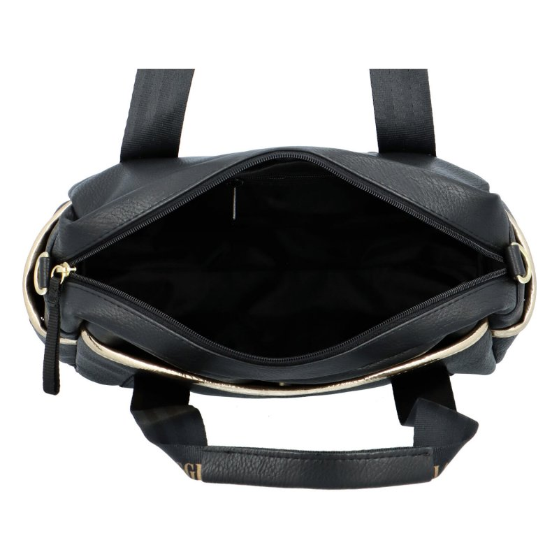 Trendy sportovní koženková kabelka Sarah, černá-zlatá