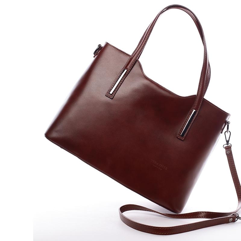 07a2c569f Elegantní kožená dámská kabelka do ruky Hilary, hnědá