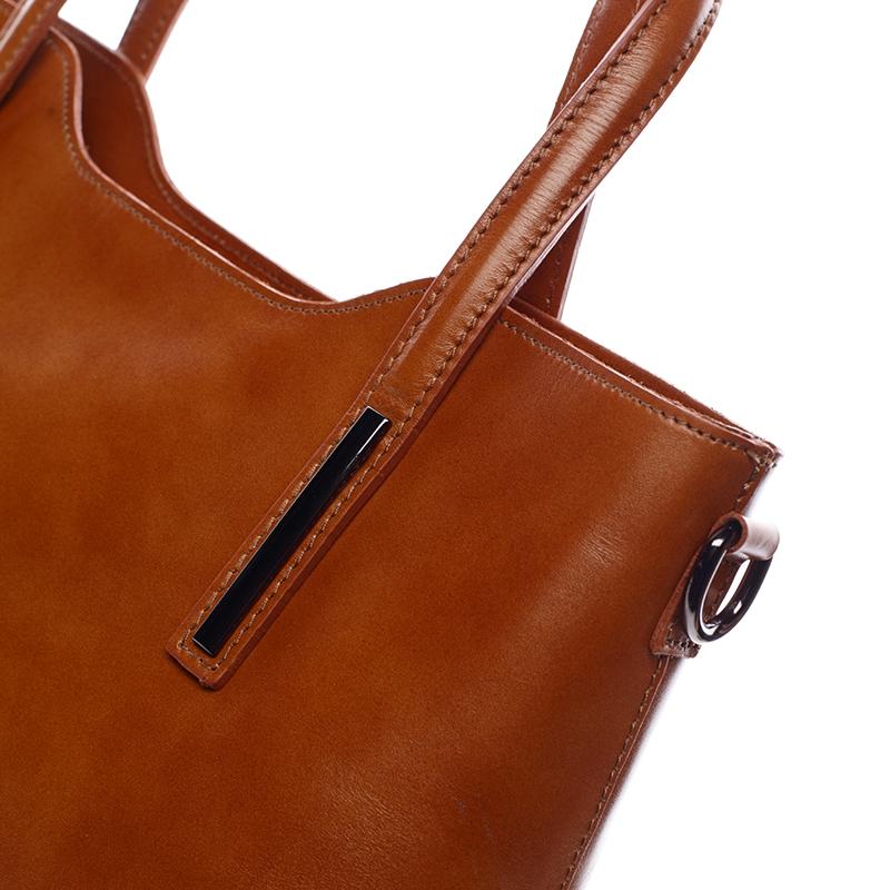 Elegantní kožená dámská kabelka do ruky Hilary, dark camel