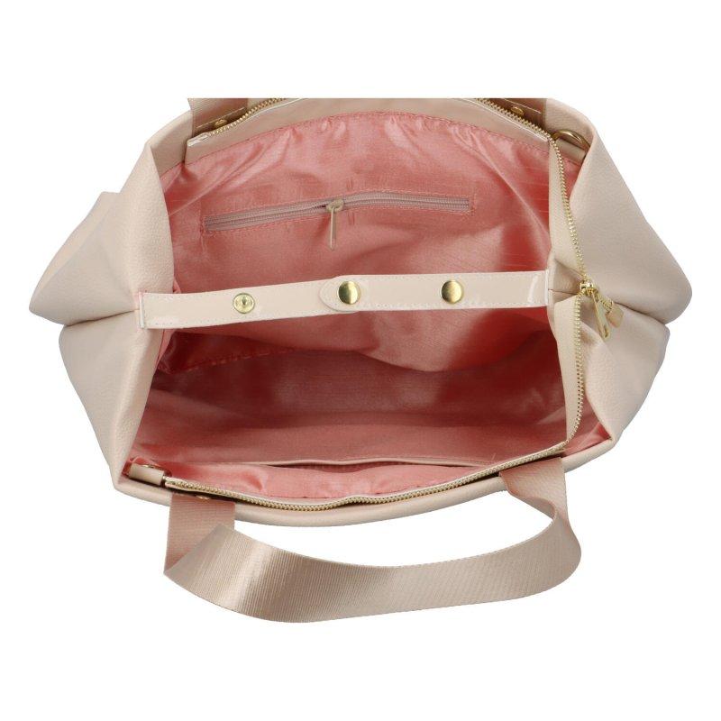Velká koženková dámská taška Fushia, béžová