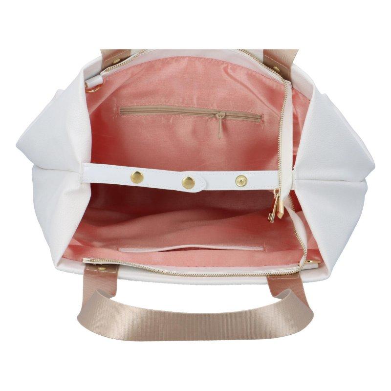 Velká koženková dámská taška Fushia, bílá
