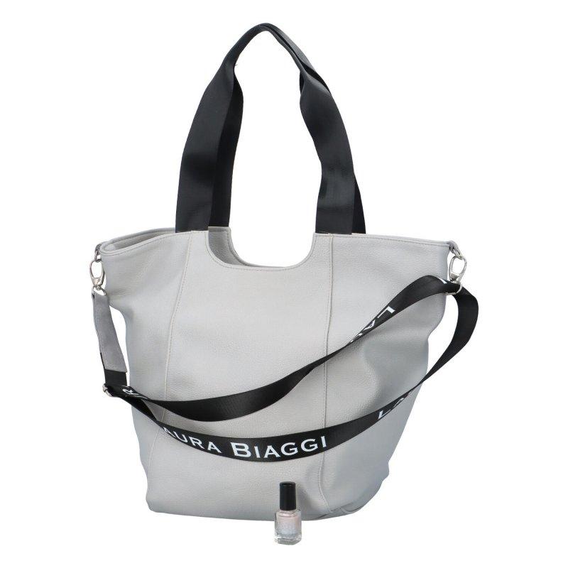 Zajímavá dámská taška L.B. se semišem, šedá