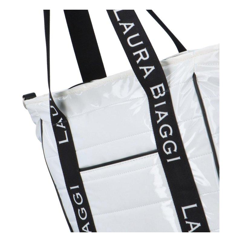 Velká a stylová dámská koženková taška Laura B. Style, bílá prošívaná
