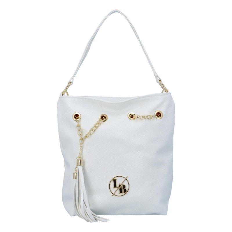 Stylová koženková kabelky Cristy s řetízkem, bílá/zlatá