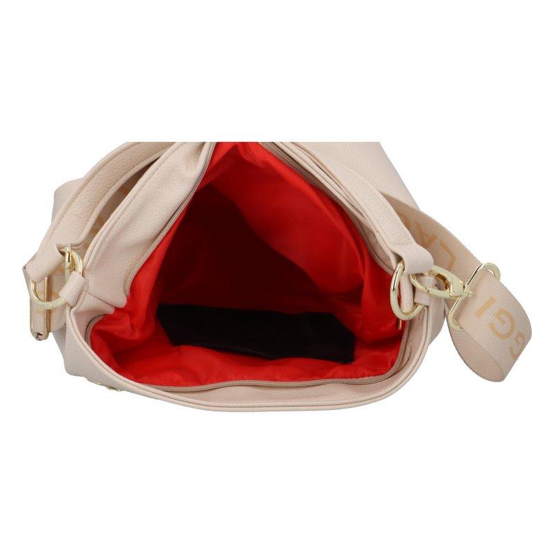 Stylová koženková kabelky Cristy s řetízkem, béžová/zlatá