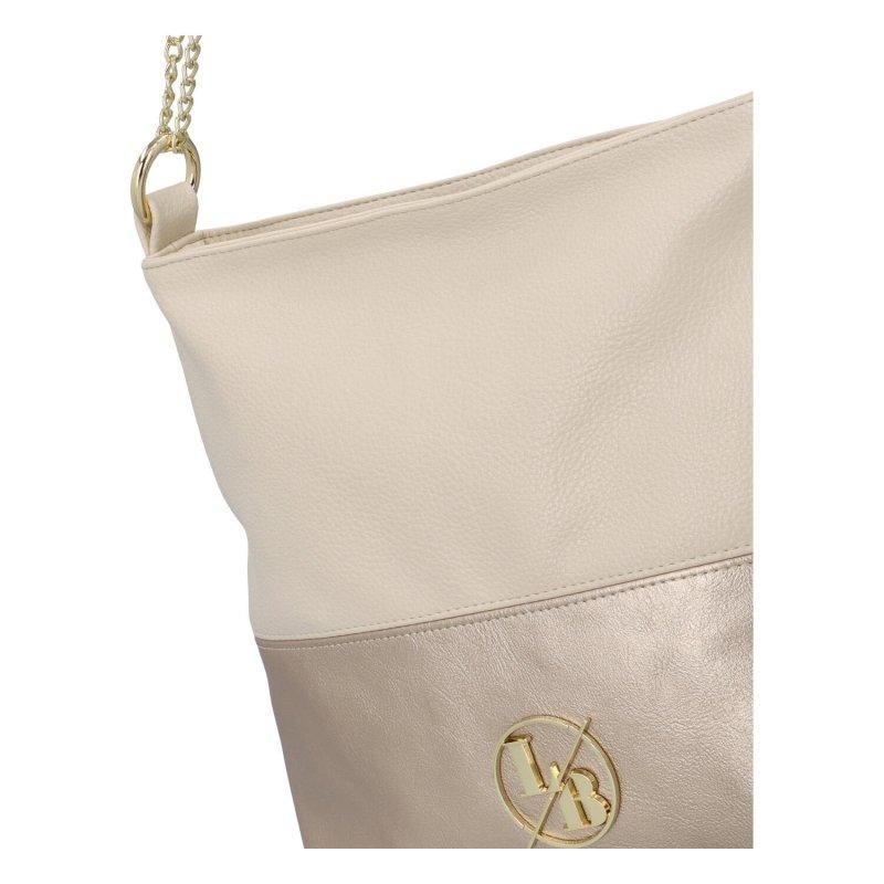 Módní koženková kabelka  Viola, béžová-zlatá