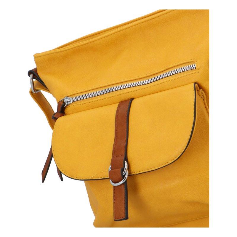 Módní koženková crossbody kabelka Ferdinand, žlutá