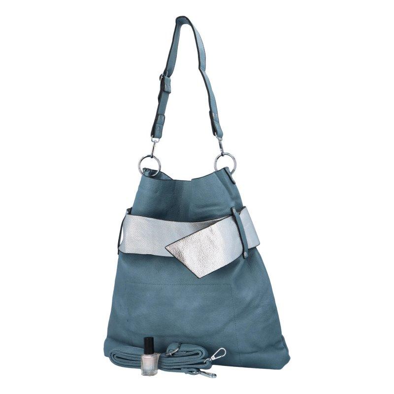 Extravagantní dámská kabelka Norbert, modrá-stříbrná
