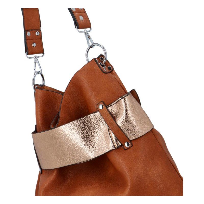 Extravagantní dámská kabelka Norbert, hnědá-zlatá