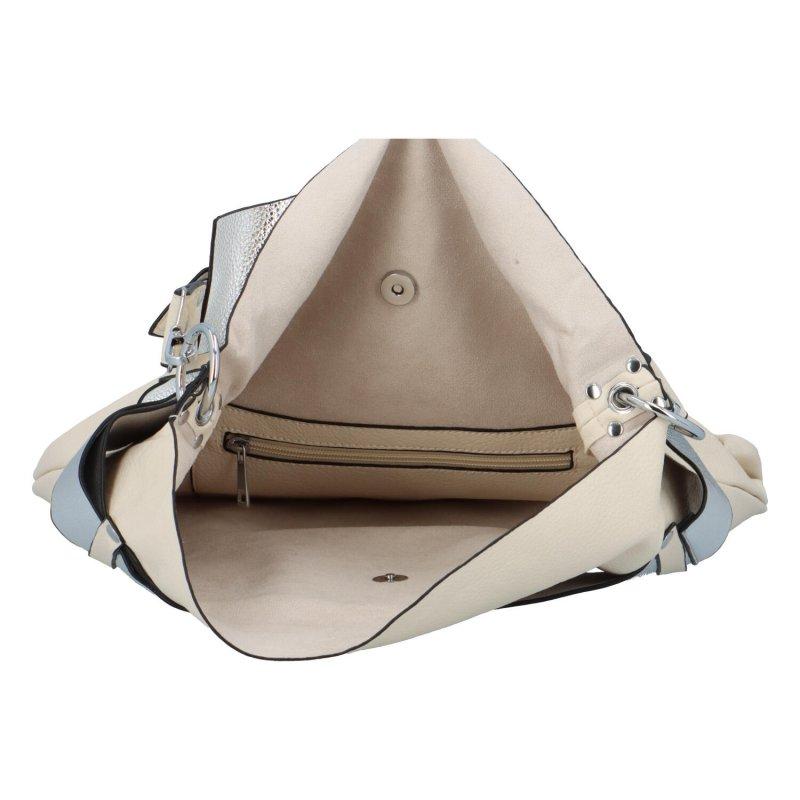 Extravagantní dámská kabelka Norbert, béžová-stříbrná