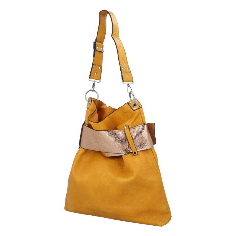 Extravagantní dámská kabelka Norbert, žlutá-zlatá