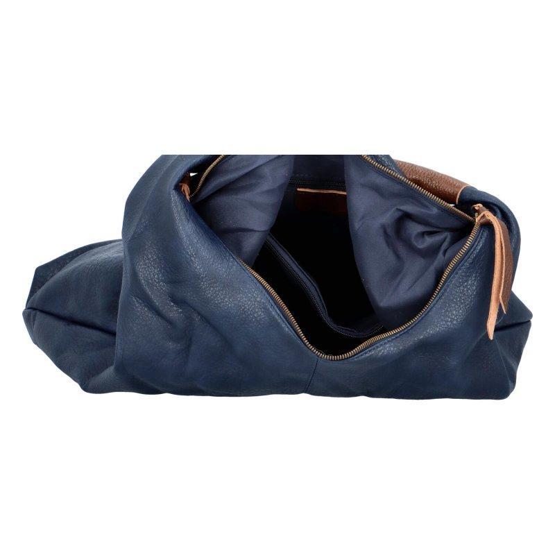 Velká prostorná koženková kabelka Irma, tmavě modrá