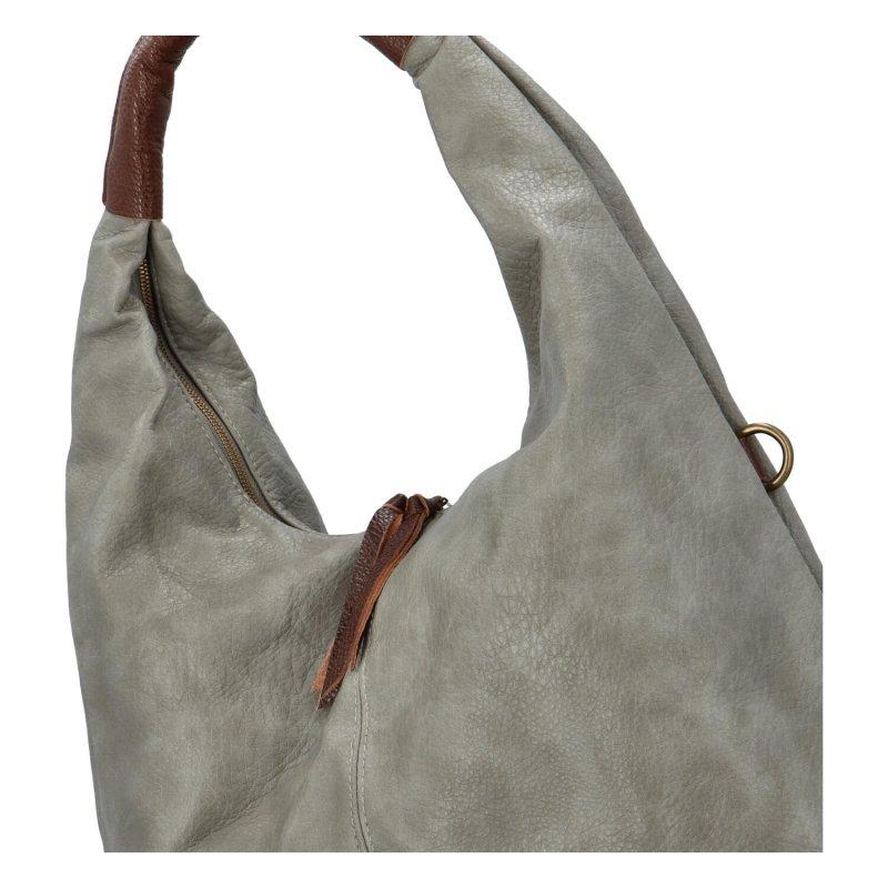 Velká prostorná koženková kabelka Irma, šedá