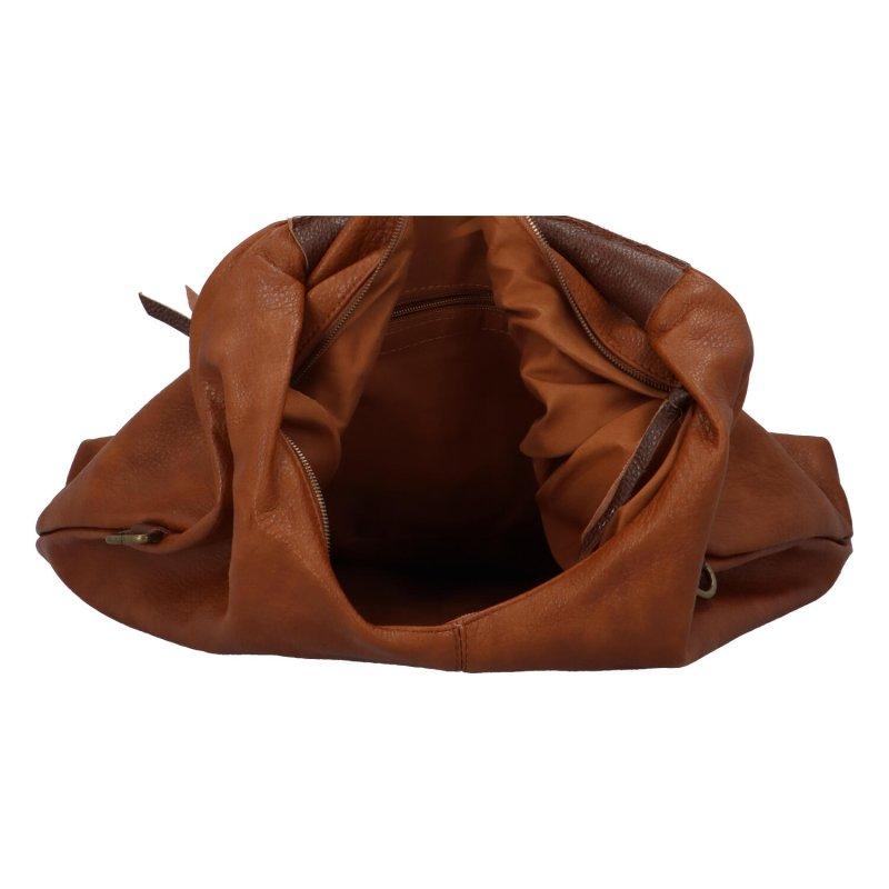 Velká prostorná koženková kabelka Irma, tmavě hnědá