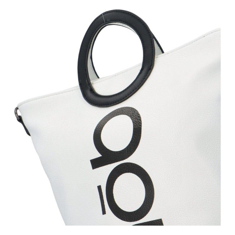 Stylová kabelka do ruky s nápisem 'NOBO' bílá